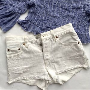 Levi's White distressed short jeans